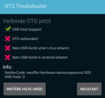 USB-Host Test mit OTG Troubshooter