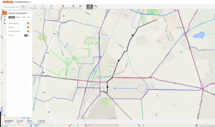 Strava Routenersteller - noch Beta Stadium