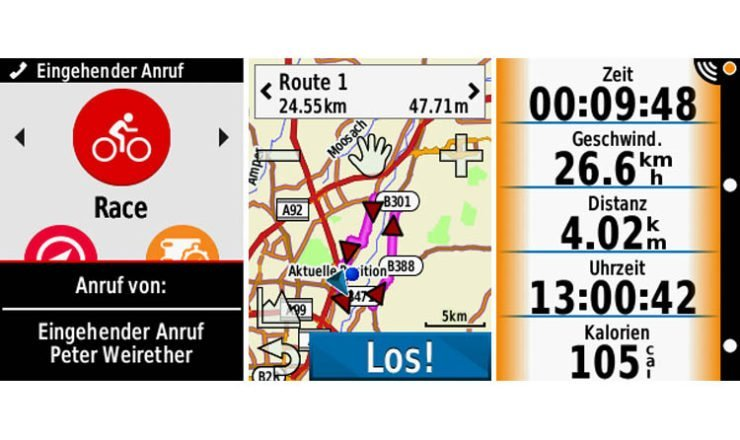 Ein paar Garmin Edge 820 Screenshots