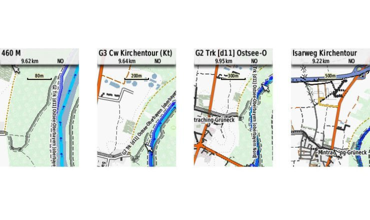 GPSmap 64s Screenshots der Velomap mit Racing_Bicycle Layout