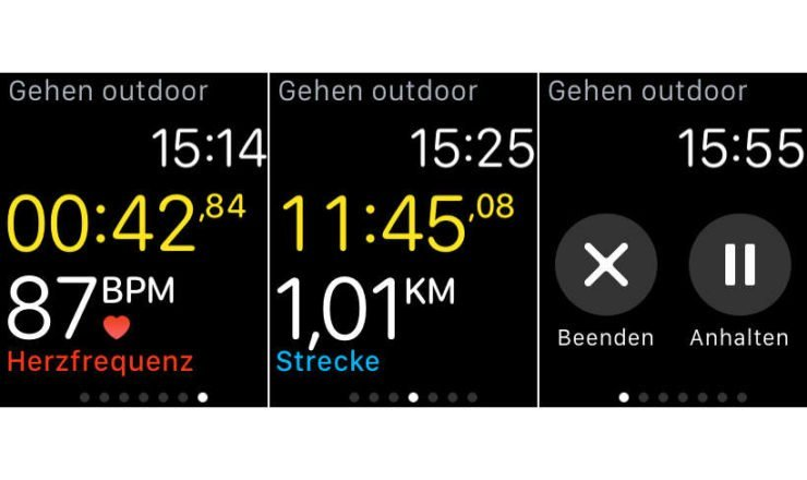 Während dem Workout mit Apple Watch