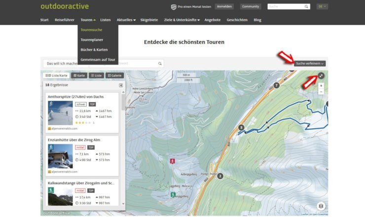 Das Outdooractive Tourenportal