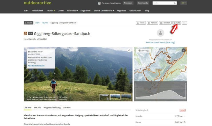 Outdooractive Detailseite mit GPX-Track Download