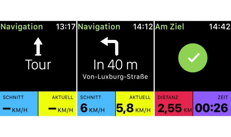 Navigationsanweisungen der komoot Watch App