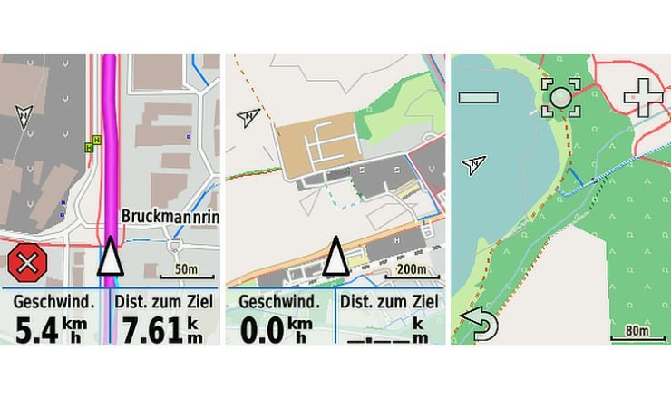 Screenshots Freizeitkarte Garmin Edge 820