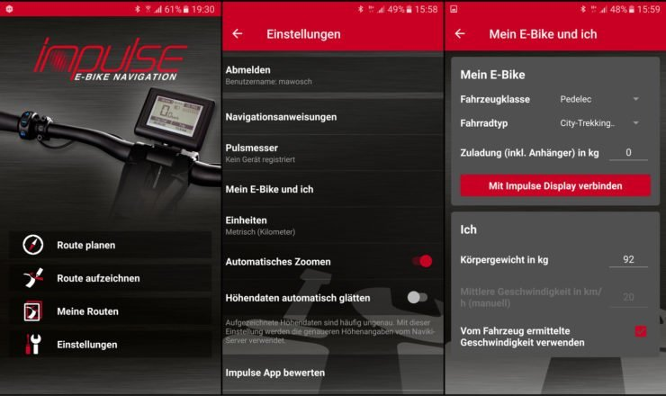 Screenshots eBike koppeln