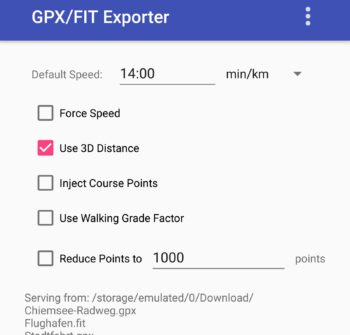 GPX/FIT Exporter App auf dem Android Smartphone
