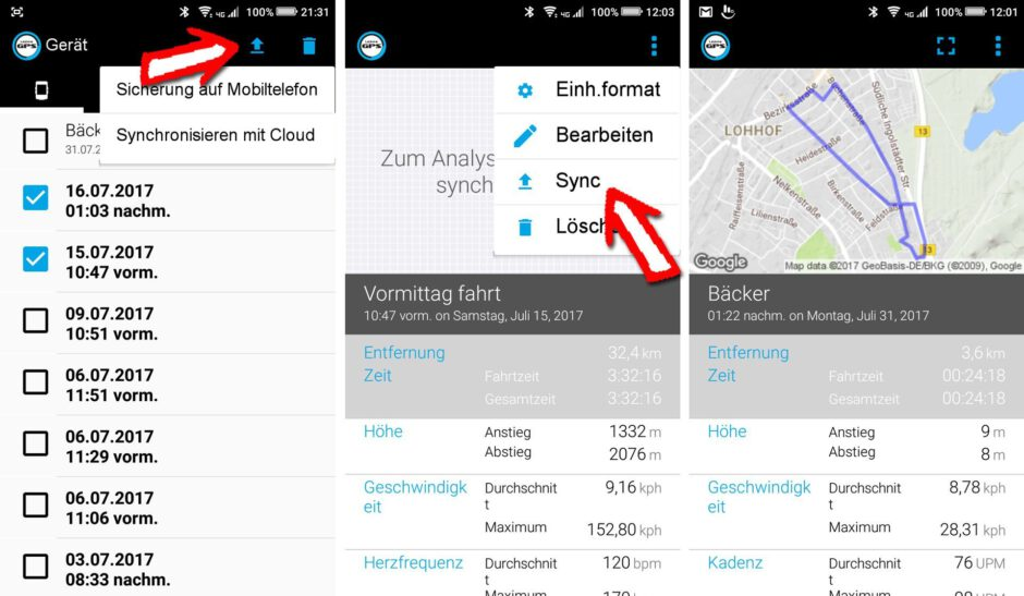 Tour Auswertung in der Lezyne App