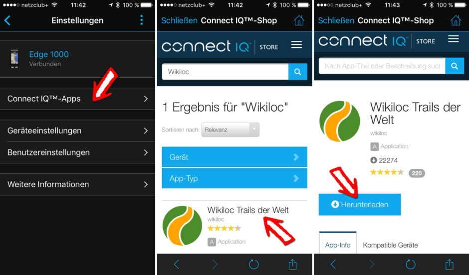Download der Wikiloc App über die Garmin Connect Mobile App