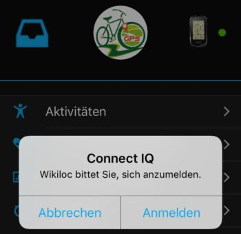 Wikiloc Anmeldung in Garmin Connect Mobile