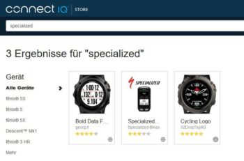 Specialized App im Garmin Connect Store