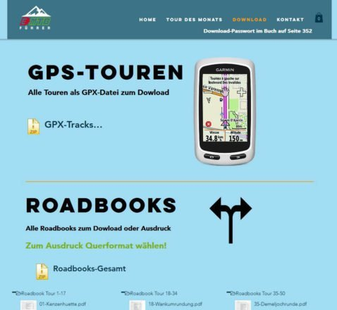 Download von GPX-Tracks und Roadbooks