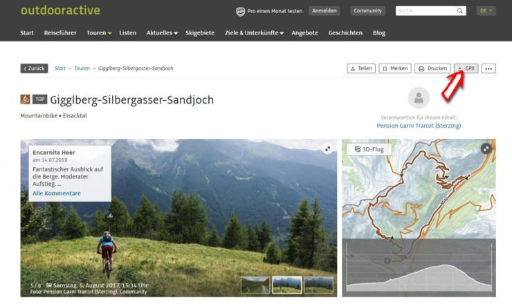 Outdooractive GPX-Track Export