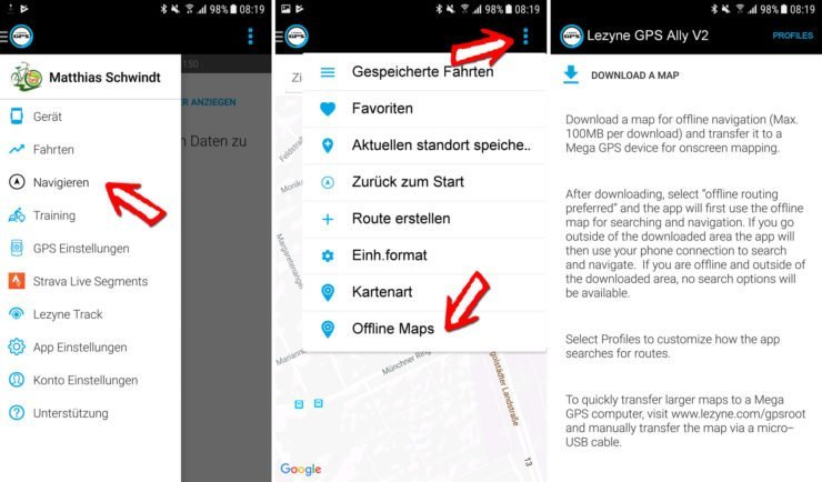 Download der Karten in der Lezyne App
