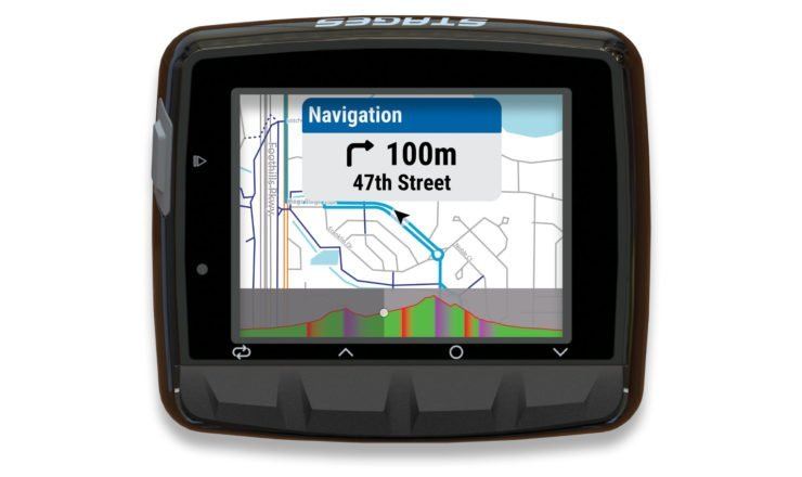 Stages Dash L50 mit Karte und aktiver Navigation