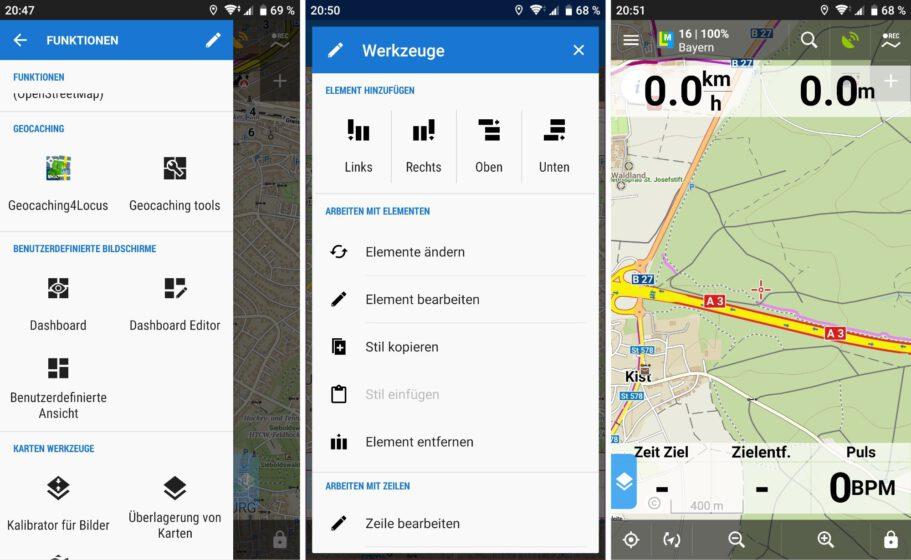 Locus Map Dashboard einrichten und anzeigen