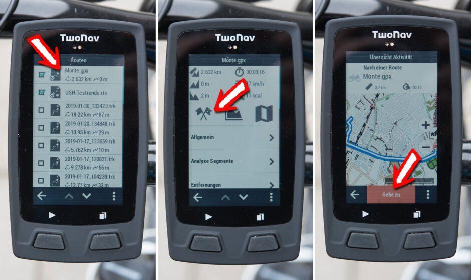 Auswahl der GPX-Datei, Übersicht und Start der Track-Navigation