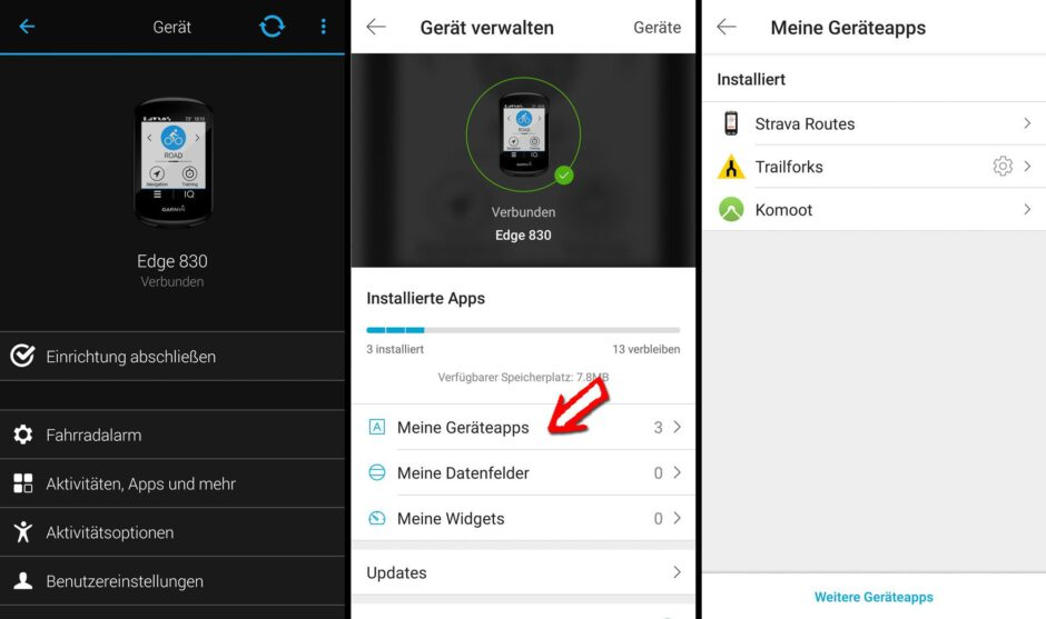 Garmin Connect App und Connect IQ App Store