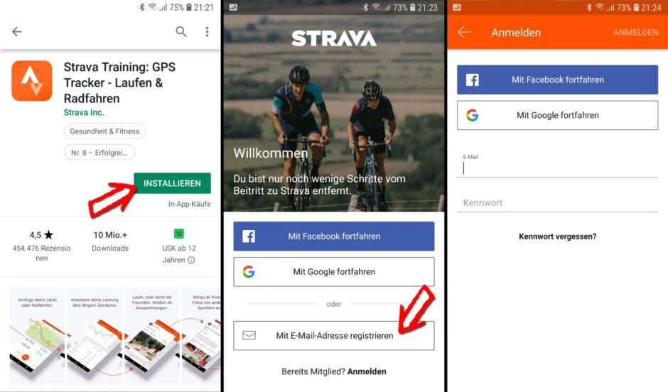 Strava App installieren und Konto anlegen