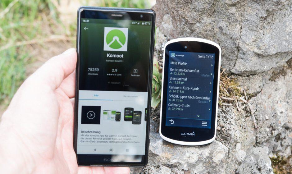 Garmin Connect IQ App für komoot auf dem Edge