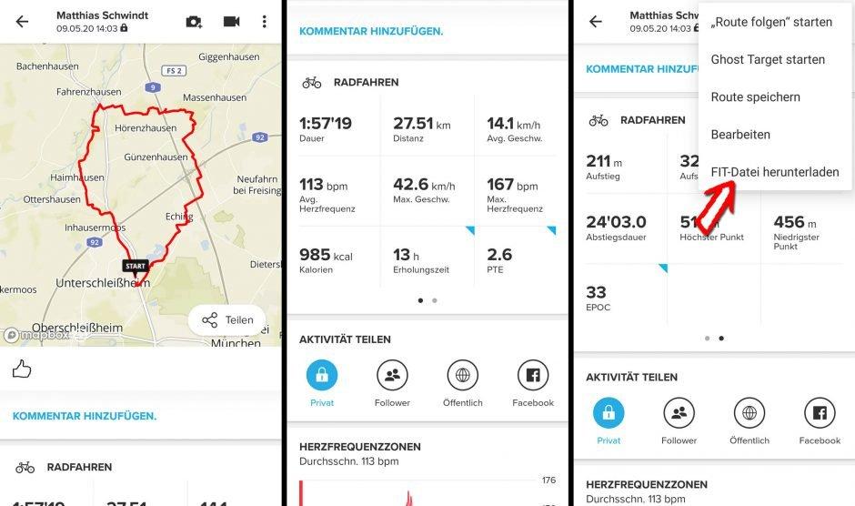 Aufzeichnung der Uhr in der Suunto App auf dem Smartphone