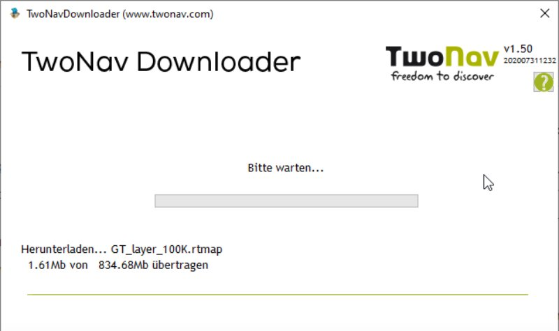 TwoNav Downloader in Aktion